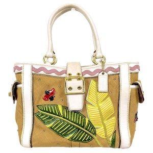HAMPTON Ltd Ed Coach Ladybug Leather Burlap Tote